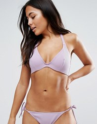 Asos Fuller Bust Mix And Match Hidden Underwire Bikini Top In Rib Dd G Lilac Purple