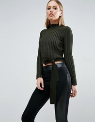 Asos Crop Jumper In Rib With Turtle Neck And Tie Khaki Green