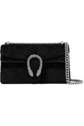 Gucci Dionysus Small Embossed Velvet And Textured Leather Shoulder Bag Black