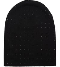 William Sharp Swarovski Crystal Cashmere Slouch Beanie Black