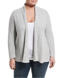 Nic Zoe Plus Ribbed Open Front Cardigan Grey