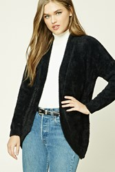 Forever 21 Hairy Knit Open Front Cardigan Black