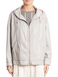 Brunello Cucinelli Leather Hooded Jacket Sky