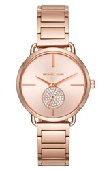 Michael Michael Kors Women's Portia Round Bracelet Watch 36.5Mm Rose Gold