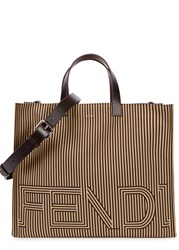 Fendi Sand Striped Canvas Tote Brown