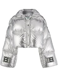 Off White Cropped Puffer Jacket Silver