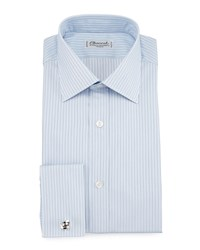 Charvet Striped Barrel Cuff Dress Shirt Light Blue Women's