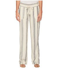 Roxy Oceanside Yarn Dyed Pants Marshmallow Classic Stripes Women's Casual Pants Beige