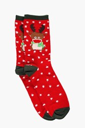 Boohoo Rudolf Christmas Socks Red