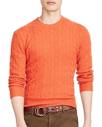 Polo Ralph Lauren Cable Knit Cashmere Sweater Fall Orange Heather