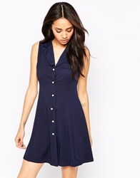 Lovestruck Charlotte Button Through Shirt Dress Navy