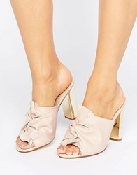 Office Spice Knot Heeled Mules Pale Pink Pu