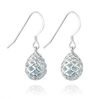 Kinnari Silver Small Egg Earrings With Blue Topaz Blue Silver