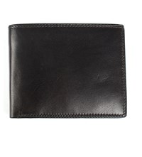 Dents Leather Contrast Trifold Wallet Black Claret