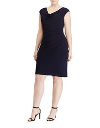 Lauren Ralph Lauren Plus Cowlneck Jersey Dress Navy