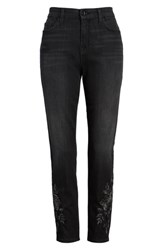Jen7 Embroidered Ankle Skinny Jeans Riche Touch Aged Black