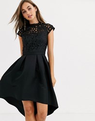Chi Chi London Lace Detail Midi Dress In Black