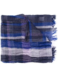Y's Fringed Check Scarf Women Cotton Linen Flax One Size Blue