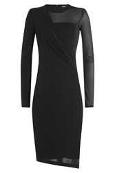 Dkny Draped Jersey Dress Black