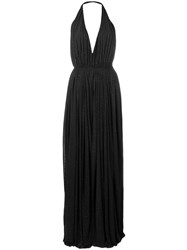 Saint Laurent Pleated Evening Dress Black