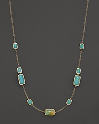 Ippolita 18K Gold Rock Candy Gelato 9 Stone Rectangle Necklace In Rutilated Quartz And Turquoise Doublet 18 Yellow Gold Multi