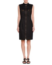 Tomas Maier Sleeveless Zip Front Denim Dress Dark Navy