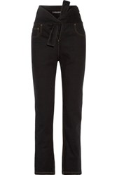 Y Project Tie Front High Rise Straight Leg Jeans Black