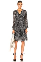 See By Chloe Long Sleeve Printed Midi Dress In Black Floral Black Floral