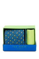 Ted Baker Zoe Paisley Silk Tie And Handkerchief Green
