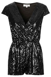 Belle Black Sequin Plunge V Neck Playsuit With Capped Sleeves By Wyldr