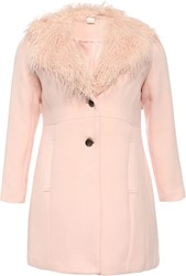 Lost Ink Curve Coat With Fur Collar Pink