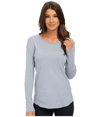 Dylan By True Grit Long Sleeve Cotton Tee With Soft Knit Side Panel Chambray 2 Women's T Shirt Blue