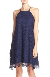 Chelsea 28 Women's Chelsea28 Floral Lace Trapeze Halter Dress Navy Evening