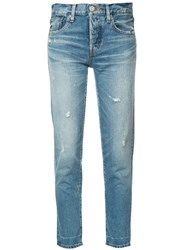 Moussy Tapered Cropped Jeans Blue
