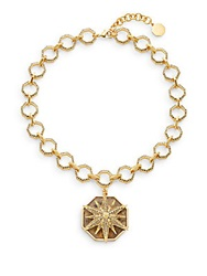 Louise Et Cie Quartz And Pave Pendant Necklace