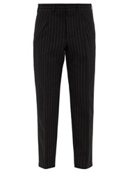 The Gigi Pinstriped Wool Blend Seersucker Suit Trousers Black White