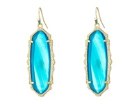 Kendra Scott Francie Earrings Gold Teal Agate Earring Blue