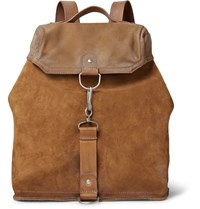 Maison Martin Margiela Distressed Suede Leather And Canvas Backpack Tan