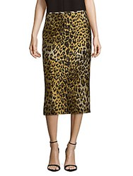 Dries Van Noten Leopard Print Midi Skirt Gold
