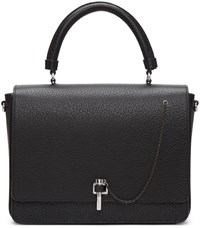 Carven Black Leather Clasp Bag