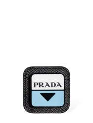 Prada Logo Plastic Saffiano Leather Pin Black