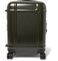 Fabbrica Pelletterie Milano Globe Spinner 55Cm Leather Trimmed Polycarbonate Carry On Suitcase Green