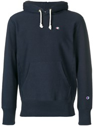 Champion Embroidered Logo Hoodie Blue