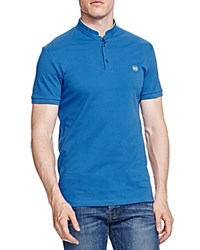 The Kooples New Shiny Pique Slim Fit Polo Blue White