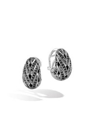 John Hardy Classic Chain Silver Buddha Earrings With Black Sapphire And Spinel