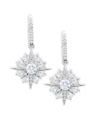Nadri Cubic Zirconia Snowflake Drop Earrings Silver