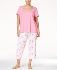 Nautica Plus Size T Shirt And Printed Capri Pants Pajama Set Floral Aurora Pink