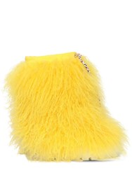 Casadei 110Mm Suede And Fur Ankle Boots Yellow