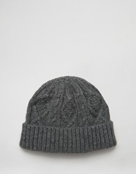 Asos Cable Fisherman Beanie In Grey Grey