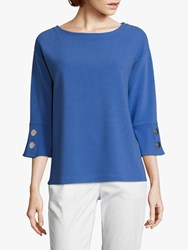 Betty Barclay Ribbed Button Jersey Top Adria Blue